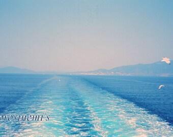 Summer blue sea, nautique decoration, greek summer, greek islands, sea trip, photo print
