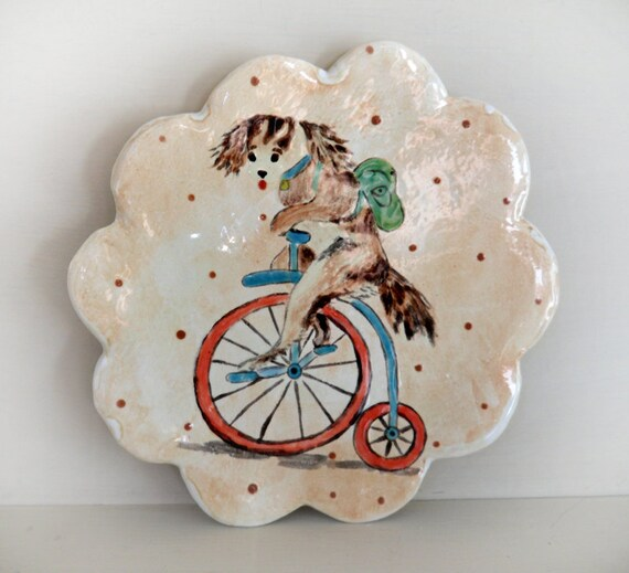 Puppy Dog on Victorian Bicycle - Hand Painted on Handmade Ceramic Porcelain Plate