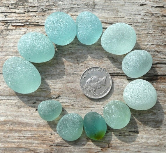 English sea glass, small rounded pieces of seafoam and aqua