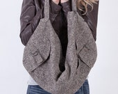 Gray or Black Large Slouchy Hobo Bag / Purse