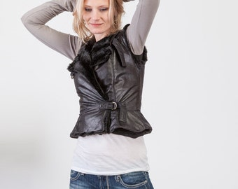 Womens Black Leather Fur Lined Fitted Motorcycle Peplum Vest - S