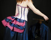 Victorain Corset 1880's Beige Deep Blue and Hot Pink - Steampunk