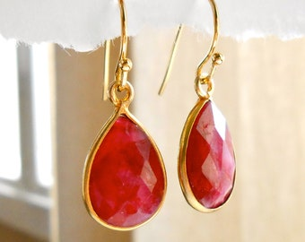 Ruby Earrings Gold Earrings, Gold Bezel Set Gemstone Earrings - July Birthstone Capricorn - Framed Stone Teardrop Jewelry