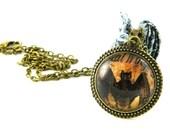 Necklace, Bat, Goth, Glass, antique bronze