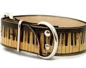Leather dog collar  1.5 inch wide - VINTAGE PIANO / Custom dog collar