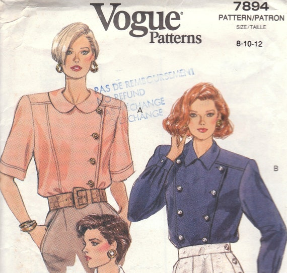 Unusual Blouse Pattern Vogue 7894 Size 8 10 12