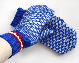 Hand Knitted Mittens - Blue and White