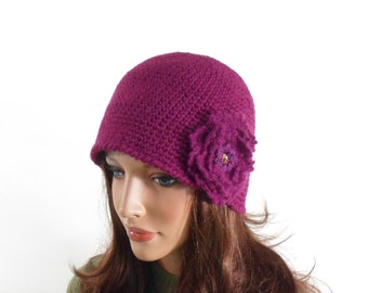 Crochet Cloche Hat with Crochet Flower Brooch - Violet