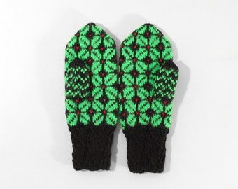 Hand Knitted Mittens - Dark Brown and Green, Size Medium