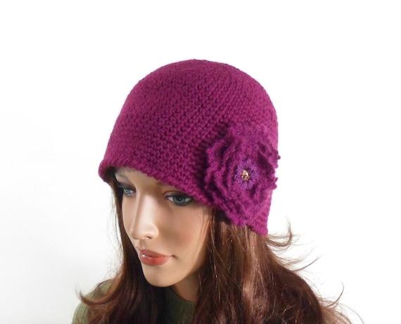 Crochet Cloche Hat with Crochet Flower Brooch - Violet