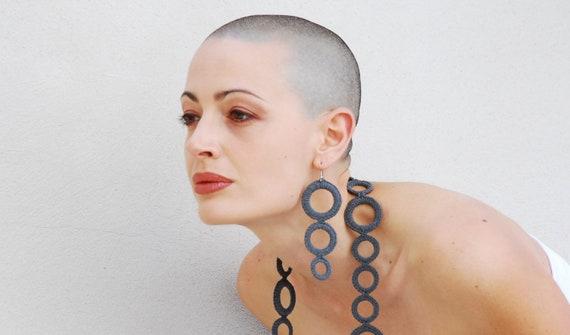 Crochet earrings / Hoop earrings / Long Dangle Earrings / Modern / Grey / Gift for her under 25