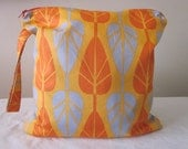 Small Wet Bag, wetbag, 11 X 11 Inches Square, orange and grey leaves