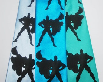 Superhero silkscreen neckties with black ink. Microfiber screen printed tie.