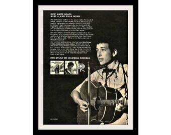 "1963 BOB DYLAN Music Ad ""Freewheelin"" Vintage Advertising Wall Art Decor Print"