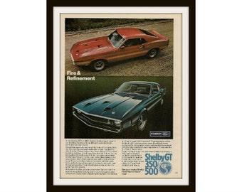 1969 SHELBY COBRA GT 300 & 500 Original Car Ad, Vintage Advertisement Print