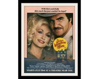 "DOLLY Parton & BURT Reynolds Movie Ad ""Whorehouse in Texas"" Advertisement Print"