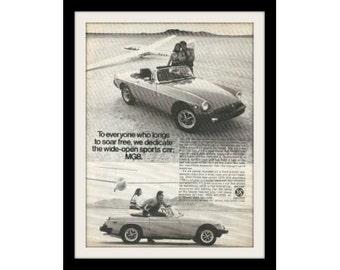 "1977 MG MGB & Glider Car Ad ""Soar Free"" Vintage Advertisement Print"