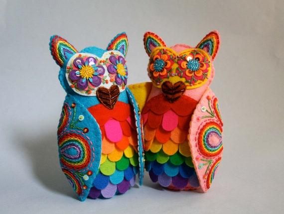 Rainbow Owl - Mexican Folk Art -  Custom Order for SJP