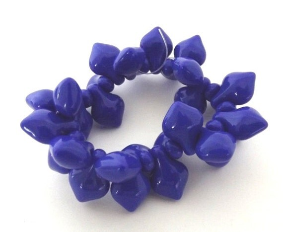 Czech Glass Beads, Blue Spade beads, 12x8mm - 15 beads
