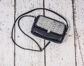 Small Navy Leather Shoulder Purse with Lace Detailing