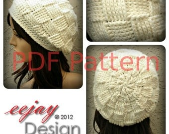 PDF Crochet Hat Pattern Womens Basketweave Slouchy Beret Beanie - By NZ Designer