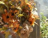 Door Wreath Autumn Wreath Fall Wreath Home Decor acorn wreath Sunflower wreath