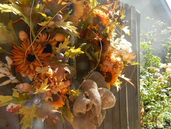 Door Wreath Autumn Wreath Fall Wreath Home Decor acorn wreath Sunflower wreath