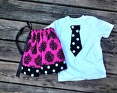 SIBLING SET Damask Pillow Case Dress and tie tee