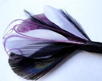 OLIVER Grape Purple, Black, and Lavender Peacock Feather Boutonniere