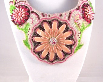 SALE Bead Embroidered Necklace Pink Purple Green Hot pink Flower Daisy OOAK Upcycled
