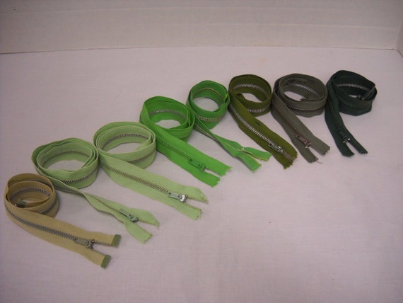 Metal Zippers, lot of  8, all shades of green, zipper jewelry   16 to 24 inches long     by ThriftyfabricsETC