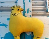 RESERVED for Christina- Stuffed Yellow SHEEP Mid Century  Modern TOY Collectible Retro Hipster Ram Goat