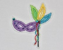 Iron on Sew on Mardi Gras Feather Mask Applique Patch