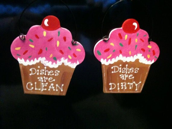 Cupcake Dishwasher Sign Bakery Kitchen Home Decor Dishes Are