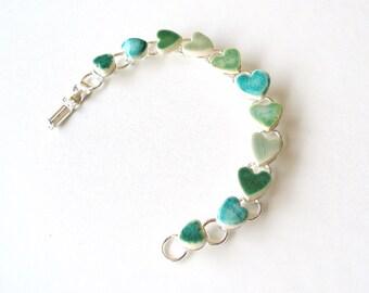 Emerald heart bracelet  Valentine's gift turquoise green ceramic hearts love words gift for her