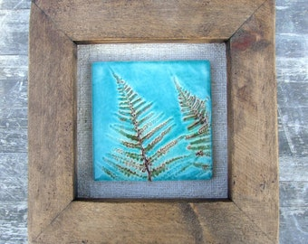 Fern tile picture, botanical tile, wood frame, bronze, turquoise, vintage Hungarian linen, Autumn, Fall