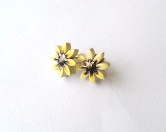 Sunflower earrings little ceramic flowers studs yellow bronze honey gold Summer