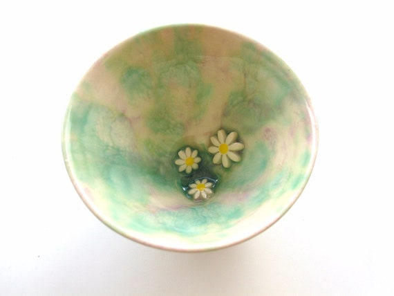 Sale Ceramic bowl, green and lilac daisy bowl, green turquoise, ring holder, trinket dish, pastels, slight second