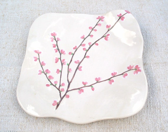 Large Ceramic plate cherry blossom serving dish handmade painted Sakura Spring time MADE TO ORDER