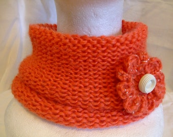 Coral red neck warmer,knitted,soft with flower brooch