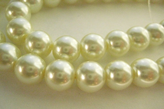 8mm Ivory Glass Pearls
