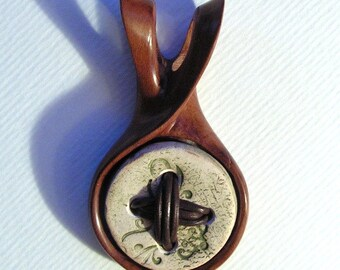 Pendant Ceramics and wood Unique hand-made artistic jewelry Inspired by nature