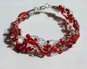 Red Wire Crochet Bracelet