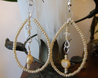 Cream Freshwater Pearl and Crystal Earrings