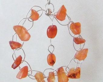 Carnelian and Silver Wire Crochet Earrings