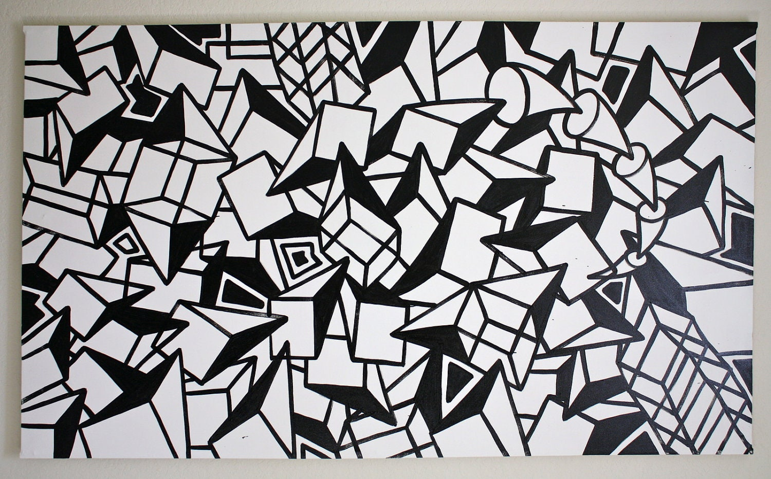 Original Black And White Abstract By Chrisriggsartgallery