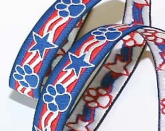 """Woven Jacquard Ribbon - 5/8"""" x 3 yards Paws and Stars - Red,White and Blue-Patriotic"""
