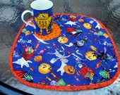 Halloween Place Mats, Quilted Snack Mats,