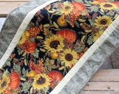 Spectacular Autumn Table Runner, Quilted Table Runner,  pumpkins, sunflowers