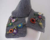 Knitted Scarf, Wool Scarf, Gray Scarf, Neckwarmer, Needle Felted Flowers